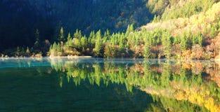 Herbstbaum- und -seepanorama in Jiuzhaigou Lizenzfreies Stockbild