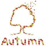 Herbstbaum und -zeichen gebildet von den Blättern Stockfotos