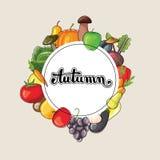 Herbstbeschriftung mit Obst und Gemüse Flache Vektorillustration Stockfotos