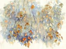 Herbstbirkenzweige mit Blattaquarellhintergrund Lizenzfreie Stockfotos