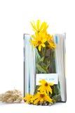 Herbstblumen mit Buch und Bleistiften Lizenzfreies Stockfoto