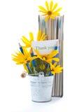 Herbstblumen mit Buch und Bleistiften Lizenzfreie Stockfotografie