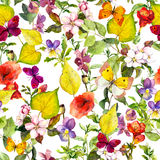 Herbstblumen, Schmetterlinge Ditsy, das Blumenmuster wiederholt watercolor Stockfotografie