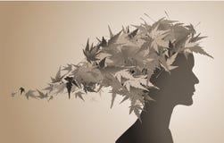 Herbstblumenmädchenschattenbild Lizenzfreie Stockbilder
