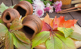 Herbstblumenstrauß und -krüge Lizenzfreies Stockbild