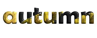 Herbstbuchstaben mit den gelben Blättern lokalisiert auf einem weißen Hintergrund lizenzfreie stockfotos