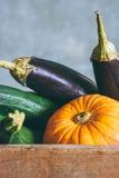 Herbsternte in einer Holzkiste Lizenzfreie Stockfotografie
