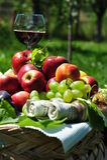 Herbsternte: Saisonfrüchte und Wein Lizenzfreie Stockbilder