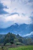 Herbstfarbe in den hohen nebeligen grünen Bergen Stockfotos
