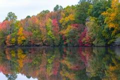 Herbstfarben, die im a-Teich sich reflektieren lizenzfreies stockfoto