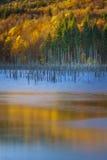 Herbstfarben reflektieren sich im Wasser von einem Gebirgssee Stockfotografie