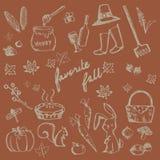 Herbstferiengekritzel-Waldlebensmittelinhaltsstoff, Tier, arbeitend im Garten stock abbildung