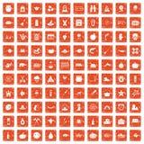 100 Herbstferienikonen stellten Schmutz orange ein Stockfotos