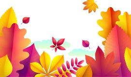 Herbstfliegerschablone für Ihren Text Vektor-Hintergrund des fallenden Herbstlaubs Fahnenherbstlandschaftsdesignschablone vektor abbildung