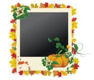 Herbstfotofeld mit Blättern und Kürbis Stockbild