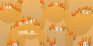 Herbstgebirgshintergrundbäume und wenig Haus für Weihnachten gestalten landschaftlich lizenzfreies stockbild