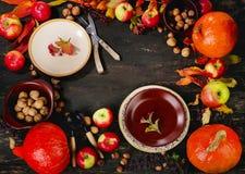 Herbstgedeck mit Kürbisen und Äpfeln lizenzfreies stockfoto