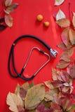 Herbstgelb lässt medizinisches Stethoskop c q lizenzfreie stockbilder