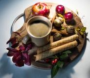 Herbstgetränk mit Früchten buchen und beruhigen Stimmung Lizenzfreie Stockfotografie