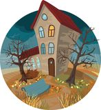 Herbsthaus, -schmutz und -regen Lizenzfreies Stockfoto