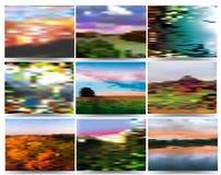 Herbsthintergrund bestanden aus Landschaften Stockfotos