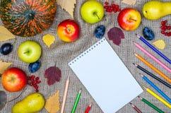 Herbsthintergrund: Gemüse, Früchte und farbige Bleistiftspitze VI Lizenzfreie Stockfotografie