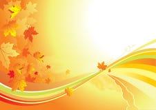 Herbsthintergrund-/-goldblätter lizenzfreie abbildung