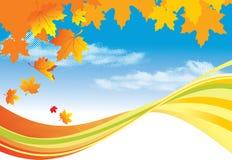 Herbsthintergrund-/-goldblätter und blauer Himmel stock abbildung