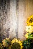 Herbsthintergrund-Kürbisbrett Lizenzfreies Stockfoto