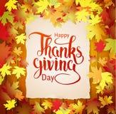 Herbsthintergrund mit dem Beschriften der glücklichen Danksagung Stockfotografie