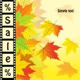 Herbsthintergrund mit dem Wortverkauf Herbstrabattdesign Lizenzfreies Stockbild