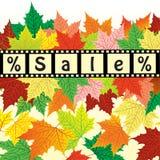 Herbsthintergrund mit dem Wortverkauf Herbstrabattdesign Stockfoto