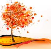 Herbsthintergrund mit einem Baum Lizenzfreies Stockbild