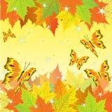 Herbsthintergrund mit Fallblättern und -schmetterlingen Lizenzfreies Stockbild