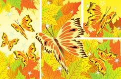 Herbsthintergrund mit Fallblättern und -schmetterlingen Stockbilder