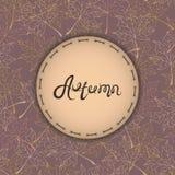 Herbsthintergrund mit Text Herbstfarben 9 Herbst wird Logos und Aufkleber deutlich Weinlese-Vektor Stockbilder