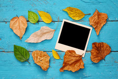 Herbsthintergrund mit trockenen Blättern und leeren Fotorahmen Lizenzfreie Stockbilder