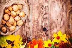 Herbsthintergrund mit Walnüssen und bunten Baumblättern Stockbild