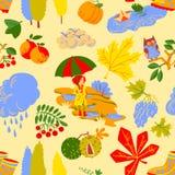 Herbsthintergrunddesign als Landschaft mit Mädchen mit Regenschirm stock abbildung