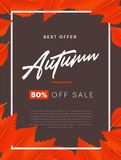 Herbsthintergrundplan verzieren mit Blättern für Einkaufsverkaufs- oder Promoplakat- und -rahmenbroschüre oder Netzfahne Stockbild
