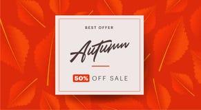 Herbsthintergrundplan verzieren mit Blättern für Einkaufsverkaufs- oder Promoplakat- und -rahmenbroschüre oder Netzfahne Lizenzfreie Stockbilder