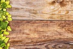 Herbsthopfenniederlassungen auf altem Holz Stockfotos