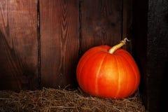 Herbstkürbis auf einem Stroh Lizenzfreie Stockfotografie