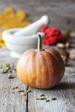 Herbstkürbis auf hölzernem Brett Stockfotografie