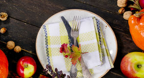 Herbstkürbise, -äpfel und -nüsse auf rustikalem hölzernem Hintergrund stockfotografie