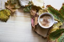 HerbstKaffeetasse, Cappuccino stockfoto