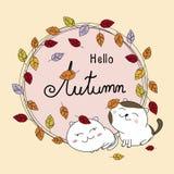Herbstkartendesign der Paarkatze und Blätter fallen Stockfotos