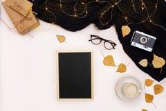 Herbstkonzept, getrocknete Fallblätter, Becher Kakao, alte Kamera, Schal und hölzerne Planke mit leerem Bildschirm Spott oben Stockbilder