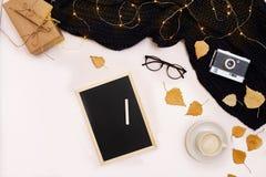 Herbstkonzept, getrocknete Fallblätter, Becher Kakao, alte Kamera, Schal und hölzerne Planke mit leerem Bildschirm Spott oben Lizenzfreies Stockbild