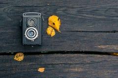 Herbstkonzert, Retro- Kamera auf einem autum Hintergrund Stockbilder